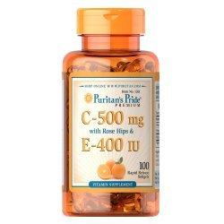 Puritan's Pride Vitamin C & E 500 mg/400 IU 100 дражета