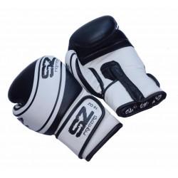 Боксови ръкавици естествена кожа Evo Champion черно-бели