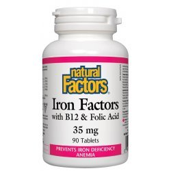 Natural Factors Iron Factors with B12 & Folic Acid 35 мг 90 таблетки