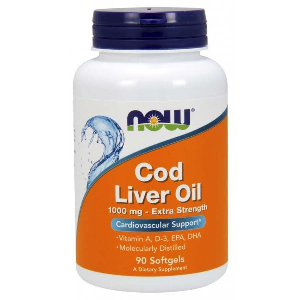 NOW Cod Liver Oil 1000 mg 90 дражетаNOW Cod Liver Oil 1000 mg 90 дражета