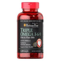 Puritan's Pride Triple Omega 3-6-9 Fish & Flax Oils 120 дражета