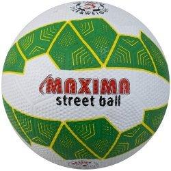 Футболна топка за твърди терени гумена MAXIMA, Бял/Зелен