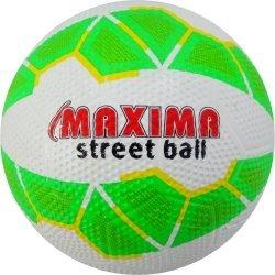 Футболна топка за твърди терени гумена 4 MAXIMA, Зелен/Бял