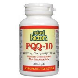 Natural Factors PQQ- 10® (Пиролохинолин квинон 20 мг + Koензим Q10 200 мг) 30 софтгел капсули