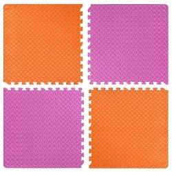 Настилка релефна ЕVA 63х63х1.3 см, 2 бр оранжеви, 2 бр розови