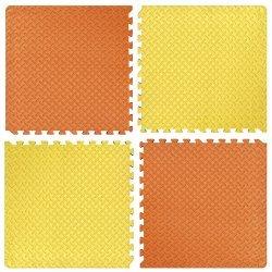 Настилка релефна ЕVA 63х63х1.3 см, 2 бр оранжеви, 2 бр жълти