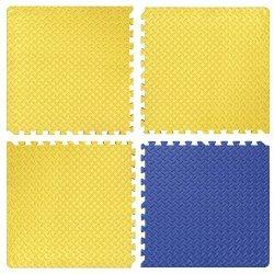 Настилка релефна ЕVA 63х63х1.4 см, 3 бр жълти, 1 бр син