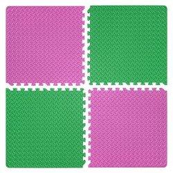 Настилка релефна ЕVA 63х63х1.3 см, 2 бр розови, 2 бр зелени