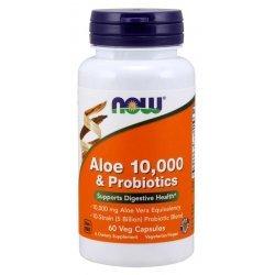 NOW Aloe Vera 10,000 & Probiotics 60 капсули