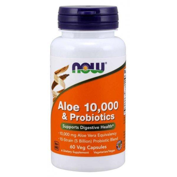 NOW Aloe Vera 10,000 & Probiotics 60 капсулиNOW0025