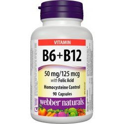 Webber Naturals Vitamin B6 + B12 with Folic Acid 90 капсули