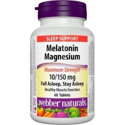 Webber Naturals Melatonin Magnesium Maximum Strenght 10/150 мг 60 таблетки