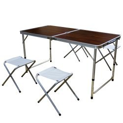 Сгъваема маса за къмпинг със столове и отвор за чадър