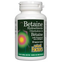 Natural Factors Betaine HCl 500 мг 90 капсули