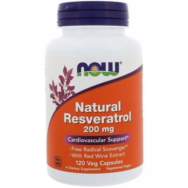NOW Natural Resveratrol 200 mg 120 капсулиNOW3354