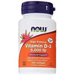 NOW Витамин D-5000 IU 240 дражета