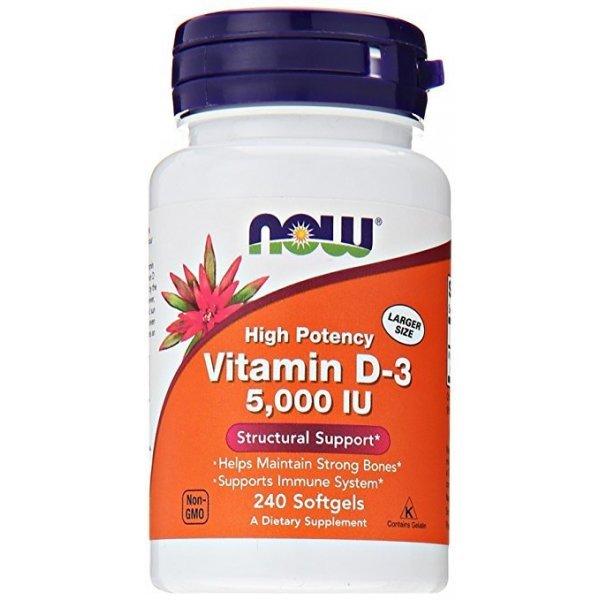NOW Витамин D-5000 IU 240 дражетаNOW373
