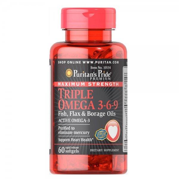 Puritan's Pride Triple Omega 3-6-9 Fish, Flax & Borage Oils 60 дражетаPP1138