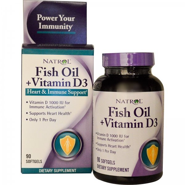 Natrol Fish Oil + Vitamin D3 90 дражетаNAT387