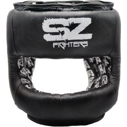 Боксова каска SZ Fighters с метален протектор на брадата от естествена кожа