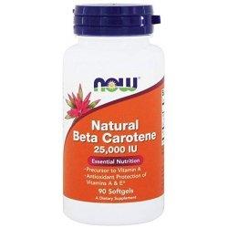 NOW Beta Carotene Natural 25000IU 90 дражета