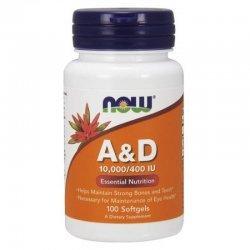 NOW Витамин A & D 100 дражета