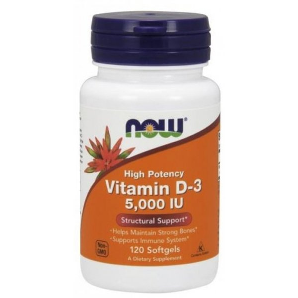 NOW Витамин D-5000 IU 120 дражетаNOW372