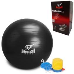 Фитнес гимнастическа топка 75 см с помпа Armageddon Sports, Черен