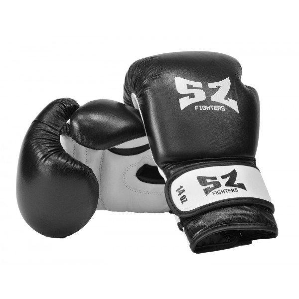 Боксови ръкавици естествена кожа черно-бели SZБоксови ръкавици черно-бели