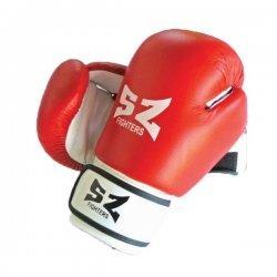 Боксови ръкавици естествена кожа червено-бели SZ