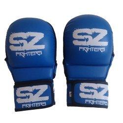 ММА Предпазни ръкавици естествена кожа Blue SZ Fighters