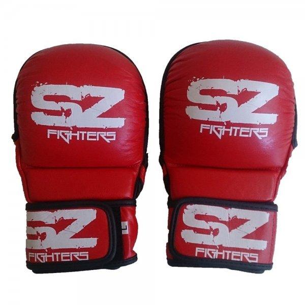 ММА Предпазни ръкавици естествена кожа Red SZ FightersММА Ръкавици Red SZ