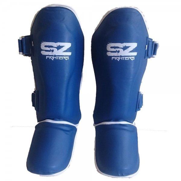 Протектори за крака за Муай Тай Кожени Blue SZ FightersПротектори за крака SZ за Муай Тай - Blue