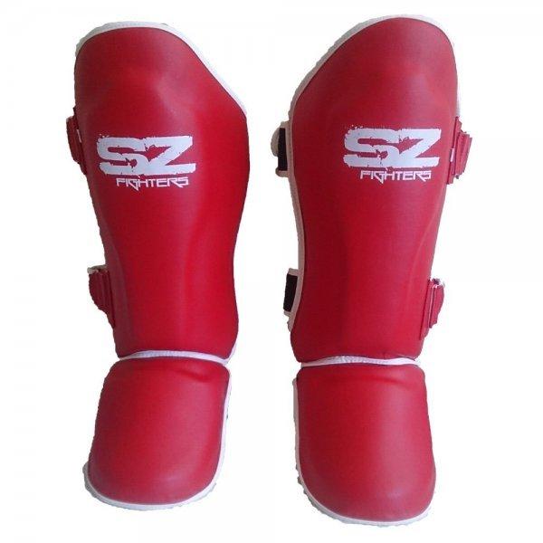 Протектори за крака за Муай Тай Кожени Red SZ FightersПротектори за крака SZ за Муай Тай - Red