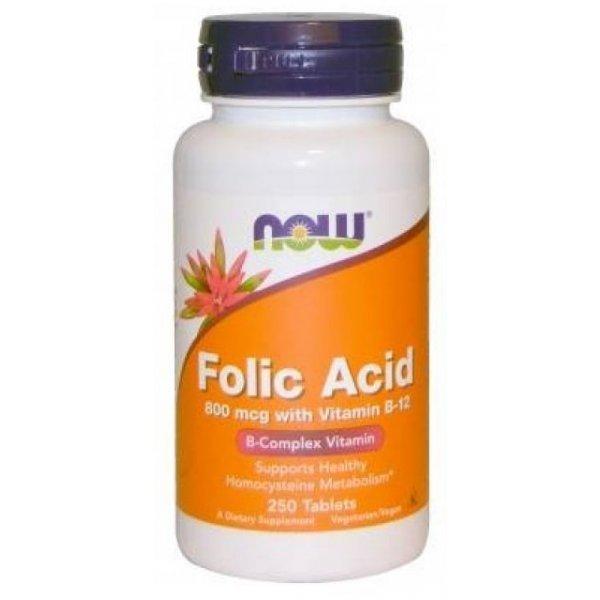 NOW Витамин B-9 (Folic Acid) + B12 800 mcg 250 таблеткиNOW476