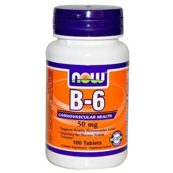 NOW Витамин B6 (Pyridoxine) 50 мг 100 таблеткиNOW450