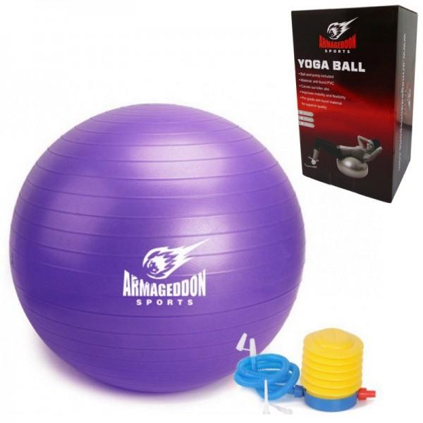 Фитнес гимнастическа топка 75 см с помпа Armageddon Sports, лилавARM071-purple
