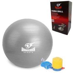 Фитнес гимнастическа топка 75 см с помпа Armageddon Sports, сив