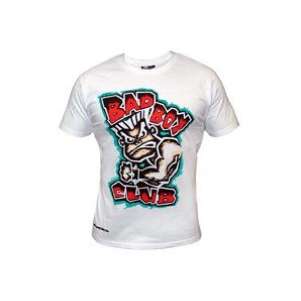 Бяла тениска с картинка и червен надпис Bad BoyБяла тениска с картинка и червен надпис Bad Boy