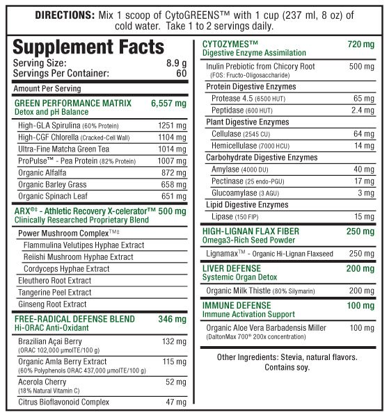 cyto-greens-supplement-facts