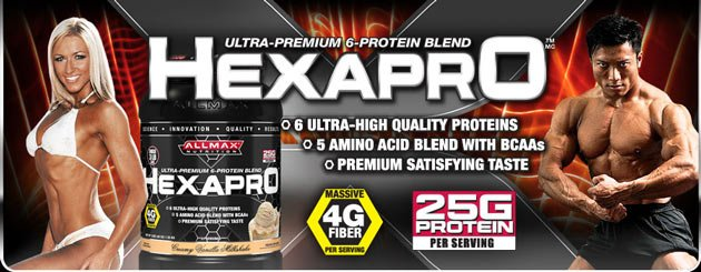 hexapro top banner AllMax HexaPro 1364 гр хранителни добавки и протеини