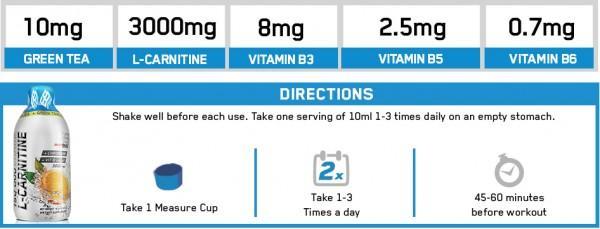 EVERBUILD Liquid L-Carnitine 3000 мг + Green Tea 500 мл 1
